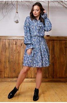 Милое синее платье из штапеля