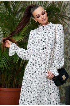 Модное белое принтовое платье