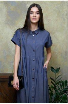 Оригинальное синее джинсовое платье-рубашка