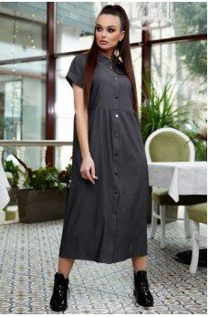 Оригинальное черное джинсовое платье-рубашка