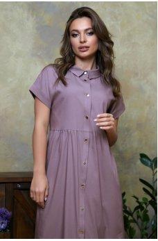 Оригинальное сиреневое джинсовое платье-рубашка