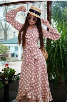Романтичное персиковое платье в горошек