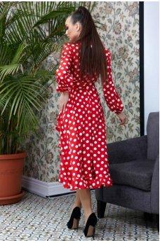 Романтичное красное платье в горошек