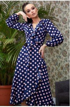 Романтичное синее платье в горошек