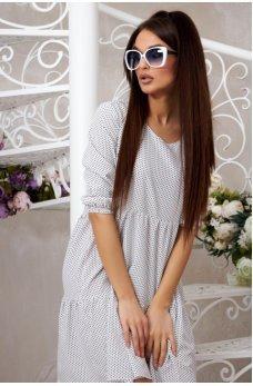 Легкое белое платье в горошек с ассиметричным подолом