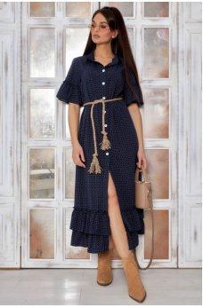 Нежное платье в темно-синем цвете ретро стиль