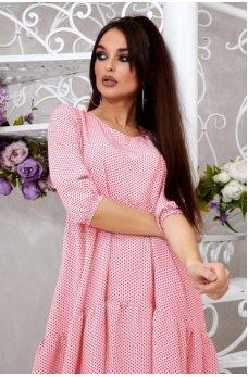 Легкое розовое платье в горошек с ассиметричным подолом