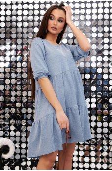Голубое платье трапеция с ассиметричным низом