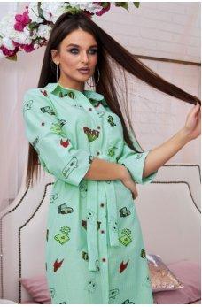 Мятное молодежное платье рубашка с принтом