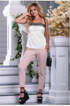 Белая стильная майка в бельевом стиле