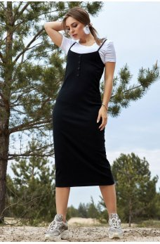 Черное универсальное платье миди