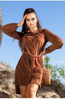 Стильное платье терракотового цвета