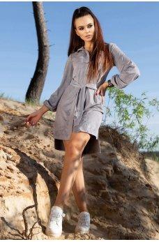 Серое элегантное платье-рубашка