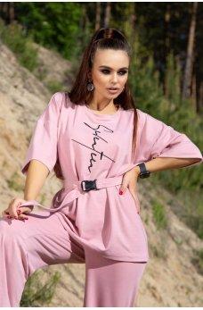 Розовый стильный спортивный костюм