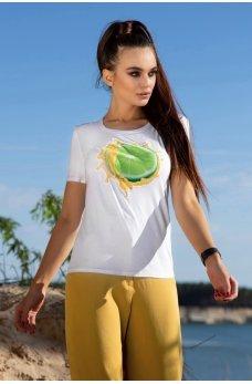 Белая легкая принтованная футболка