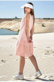 Персиковое нежное молодежное платье