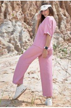 Розовый стильный легкий костюм