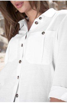 Белая женственная легкая рубашка