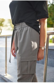 Стильные прогулочные брюки-бананы цвета кофе