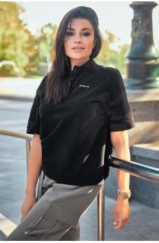 Черная спортивная футболка-поло