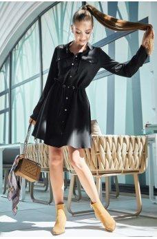 Черное короткое спортивное платье-рубашка