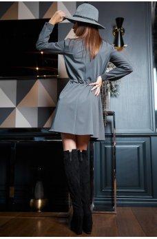 Серое привлекательное платье-рубашка