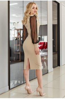 Бежевое элегантное нарядное платье миди