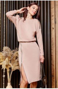 Бежевое утонченное гламурное платье
