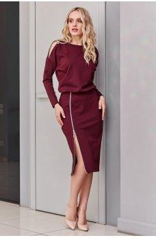 Нарядное молодежное платье цвета марсала