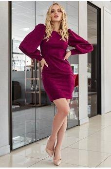 Женственное короткое платье цвета марсала