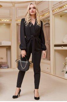 Черный изысканный комбинезон с карманами