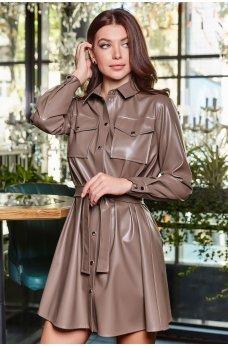 Стильное эфектное платье-рубашка цвета мокко