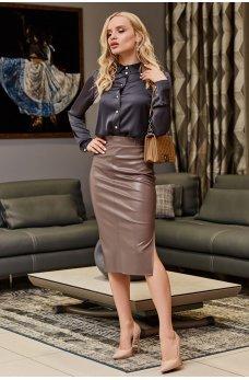 Кожаная модная юбка миди цвета мокко