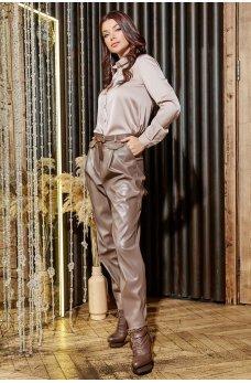 Широкие стильные брюки цвета мокко