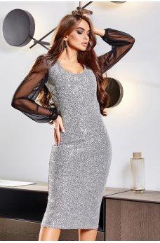Серебренное гламурное платье с пайетками