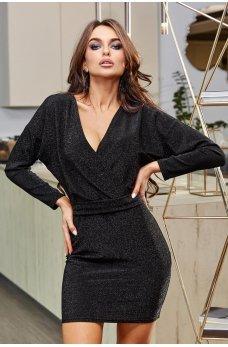 Черное нарядное элегантное платье мини
