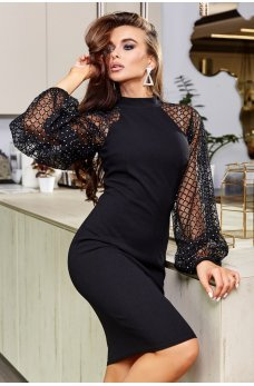 Черное вечернее шикарное платье