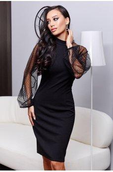 Черное романтичное вечернее платье в горох