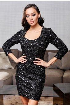 Черное шикарное утонченное платье