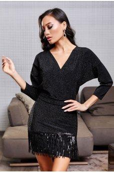 Черное эффектное платье мини с поясом