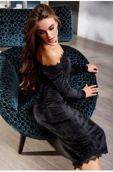 Черное элегантное велюровое платье