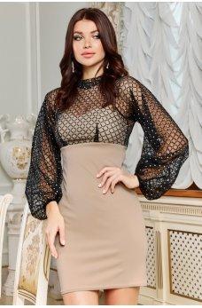 Бежевое утонченное роскошное платье