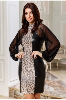Черное гламурное платье с оригинальным принтом