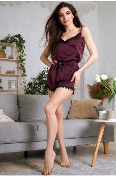 Изящная шелковая пижама цвета марсала