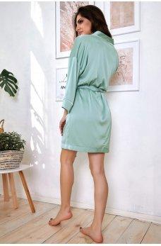 Бирюзовый привлекательный шелковый халат