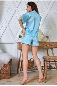 Голубая принтованная пижама из шелка