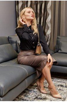 Черная шелковая нарядная рубашка