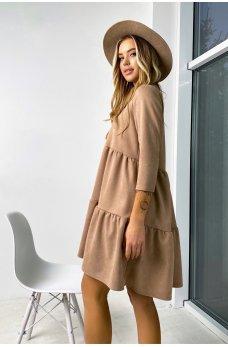 Женственное короткое платье цвета кофе
