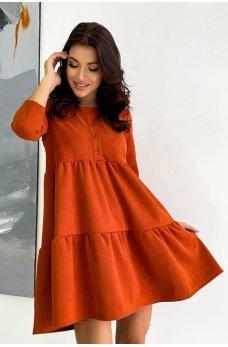Терракотовое яркое молодежное платье мини