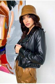 Черная молодежная кожаная куртка-косуха
